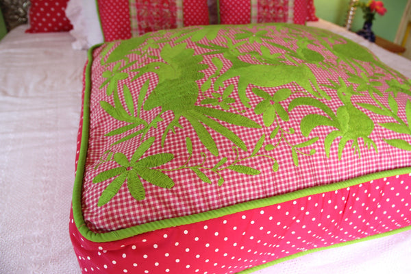 "Lime on fuchsia gingham with fuschia and white polka dots  hand embroidered Otomi Pouf Scarlett ""O"" collection"