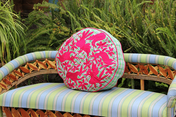 "Fuchsia on green and pink plaid hand embroidered Otomi Pouf Scarlett ""O"" collection"