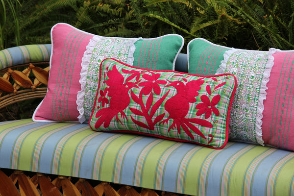 "Fuchsia on green and pink plaid hand embroidered Otomi Sham Scarlett ""O"" collection"