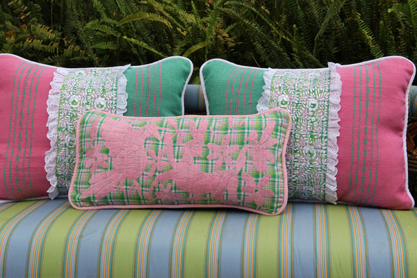 "Pink on green and pink plaid hand embroidered Otomi Sham Scarlett ""O"" collection"