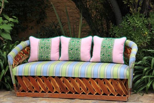 "Pale pink embroidery on Plaid accented with Mexican green sham Scarlett ""O"" collection"
