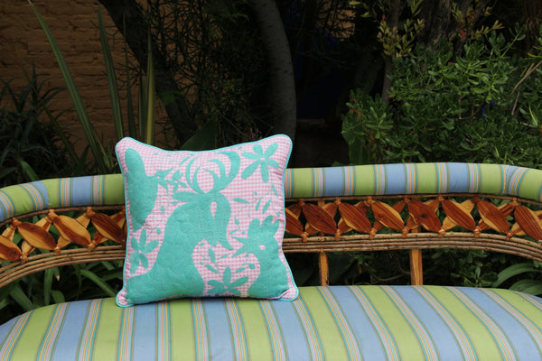 "Sweet Aqua on Pink Gingham hand embroidered Otomi Sham Scarlett ""O"" collection"