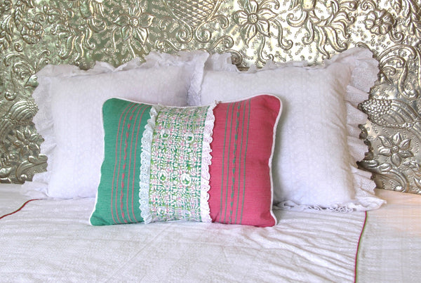 "Handwoven textiles  with white embroidery on Plaid  sham Scarlett ""O"" collection"