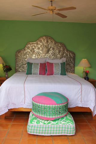 "Traditiona hand woven textiles with hand embroidered edges Otomi Pouf Scarlett ""O"" collection"