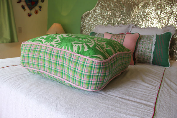 "Lime embroidery with  green and pink plaid hand embroidered Otomi Pouf Scarlett ""O"" collection"