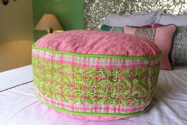 "Pink eyelet pouf with hand embroidered edges Otomi Pouf Scarlett ""O"" collection"