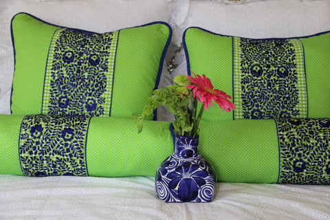 "Bolster Lime green and Cobalt blue hand embroidered sham Scarlett ""O"" collection"