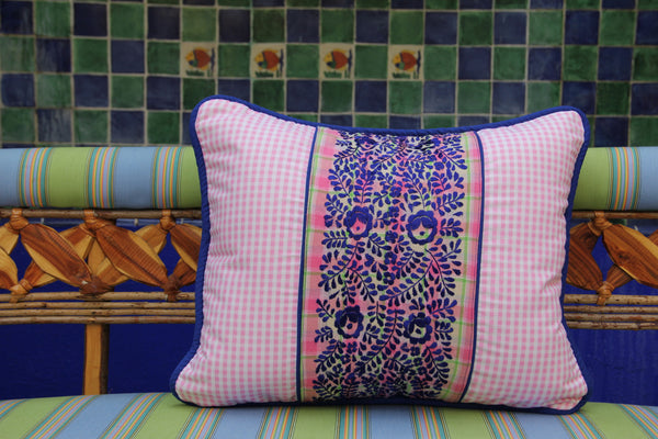 "Pink gingham sham with cobalt blue embriodery on plaid fabric with cobalt blue piping Scarlett ""O"" collection"