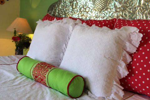 "Bolster Polka dots and hand embroidered gingham San Antonino bolster Scarlett ""O"" collection"