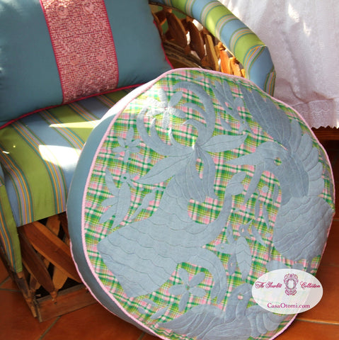 Blue on Green plaid and pink  hand embroidered Otomi Pouf