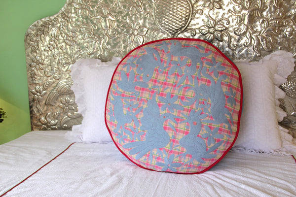 "Sky Blue hand embroidered  plaid Otomi Pouf Scarlett ""O"" collection"