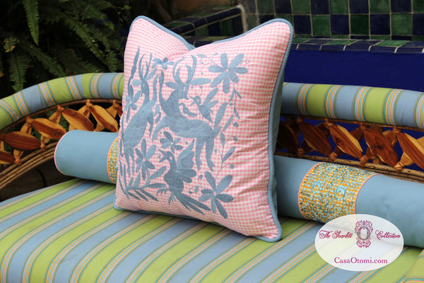 "Sky blue on Pink Gingham hand embroidered Otomi EURO  Sham Scarlett ""O"" collection"