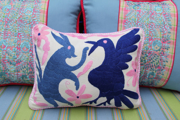 "Pink and blue hand embroidered Otomi Sham Scarlett ""O"" collection"