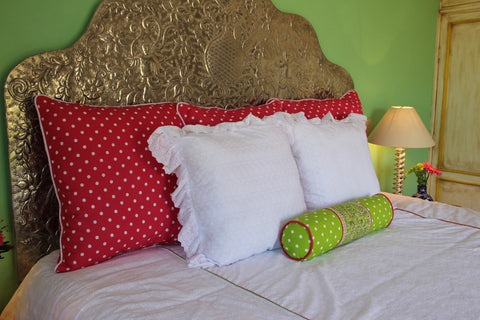 "Bolster Polka dots and Plaid hand embroidered San Antonino Sham Scarlett ""O"" collection"