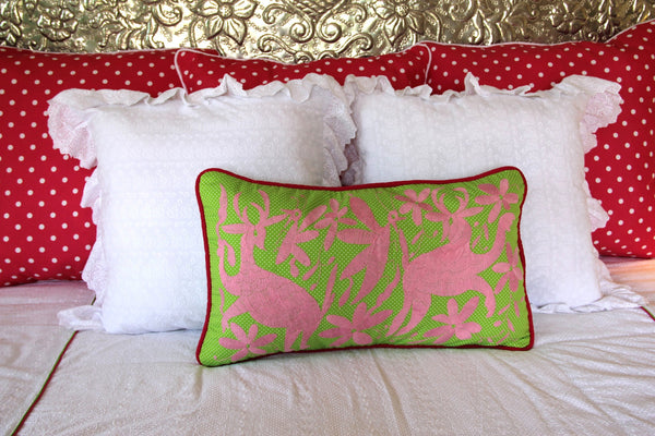 "Pink on Lime polka dots  hand embroidered Otomi Sham Scarlett ""O"" collection"