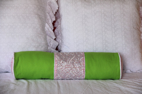 "Bolster Pale Pink,  LIme Polka dots and white hand embroidery on gingham Scarlett ""O"" collection"