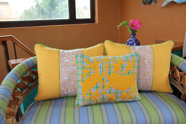 "Mango Yellow on green and pink plaid hand embroidered Otomi Sham Scarlett ""O"" collection"