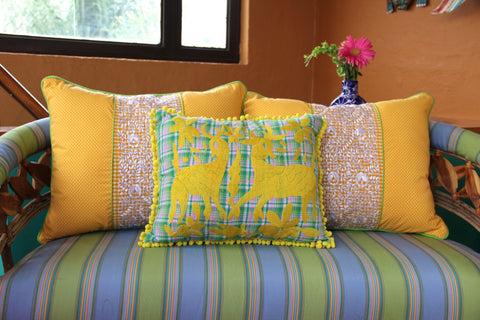 "Bright Yellow on green and pink plaid hand embroidered Otomi Sham Scarlett ""O"" collection"