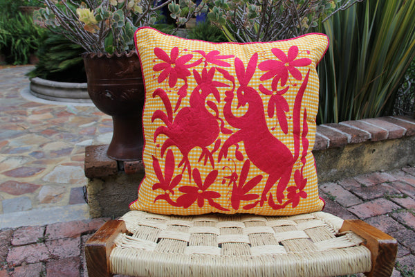 "Deep Fuchsia on Yellow and white gingham hand embroidered Otomi EURO  Sham Scarlett ""O"" collection"