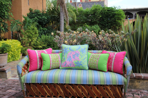 "Blue and Pink on Lime Gingham hand embroidered Otomi EURO  Sham Scarlett ""O"" collection"