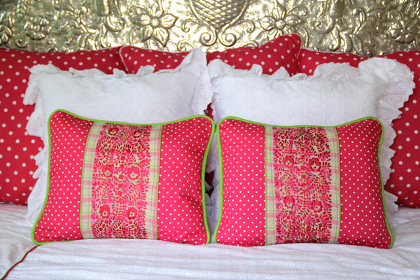 "Fuchsia and Polka dot  hand embroidered sham Scarlett ""O"" collection"