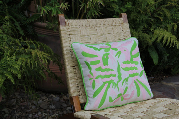 "Lime and Pale Pink  hand embroidered Otomi Sham Scarlett ""O"" collection"