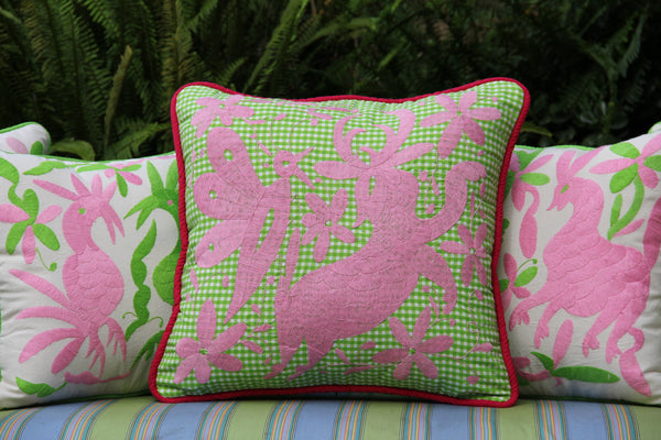 Pink Embroidery on lime gingham hand embroidered Otomi