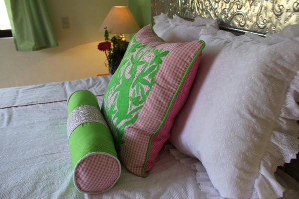 Lime green embroidery on Pink Gingham Otomi Euro Sham