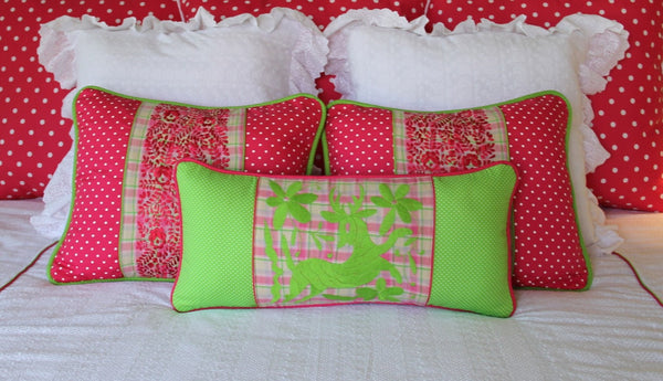 "Polka dots and Plaid hand embroidered Otomi Sham Scarlett ""O"" collection"