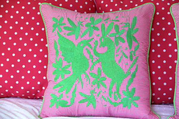 "Lime on Fuchsia Gingham hand embroidered Otomi EURO  Sham Scarlett ""O"" collection"