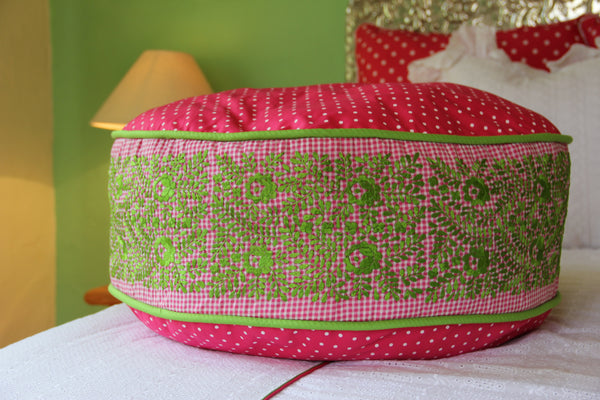 Lime embroidery on Fucshia Gingham and Polka dot hand embroidered pouf