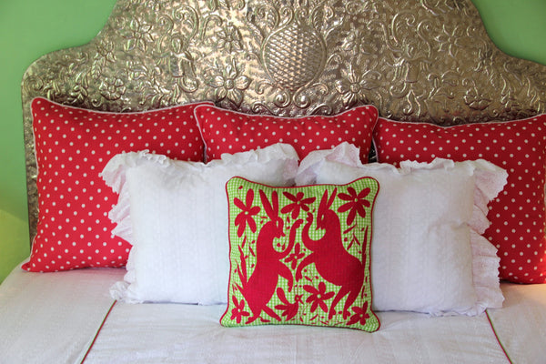 "Deep Fuchsia on Lime and white gingham  hand embroidered Otomi Sham Scarlett ""O"" collection"