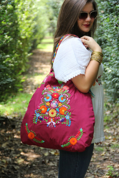 Burgandy and multi Colored Huipil  Skye tote