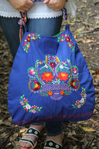 Blue and multi Colored Huipil  Skye tote