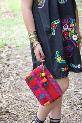 ON SALE  was 83 now 69  Deep Red  and Multi Colored Mexican textile hand woven clutch