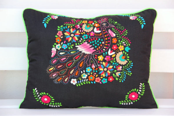 Black, Multi colored and lime Puebla Collection  Sham created from huipil kaftans