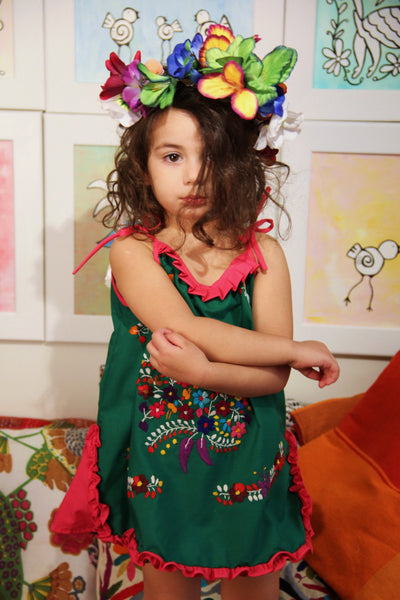 Green, pink and multi colored One of a kind Hand Embroidered Mexican Spaghetti strapped dress