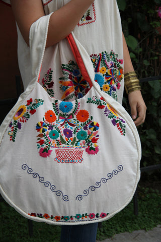 Beige and multi colored Statement piece round hand embroidered tote
