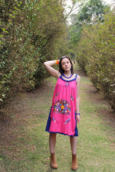 Pink, cobalt blue and multi colored One of a kind Hand Embroidered Mexican Spaghetti strapped dress