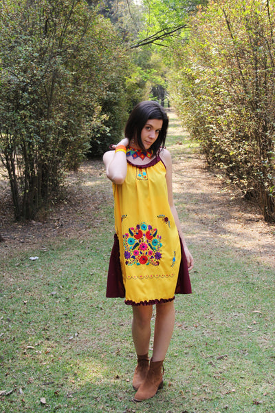 Yellow, wine and multi colored One of a kind Hand Embroidered Mexican Spaghetti strapped dress