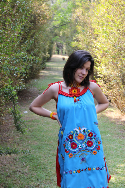 Blue, red, and multi colored One of a kind Hand Embroidered Mexican Spaghetti strapped dress