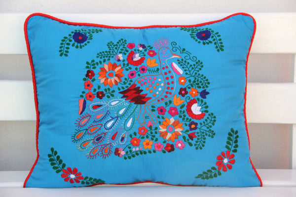 Turquoise , Multi colored and red Puebla Collection  Sham created from huipil kaftans