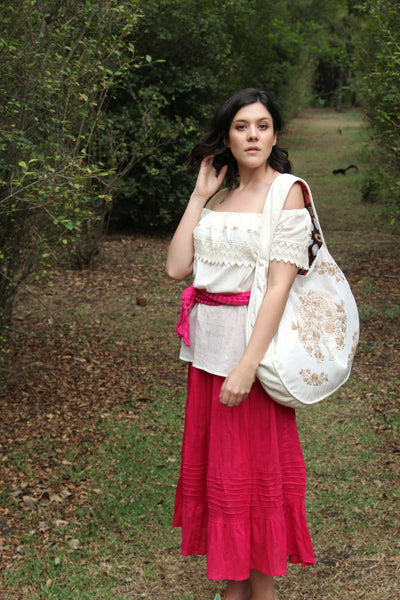 Beige and tan Statement piece round hand embroidered tote