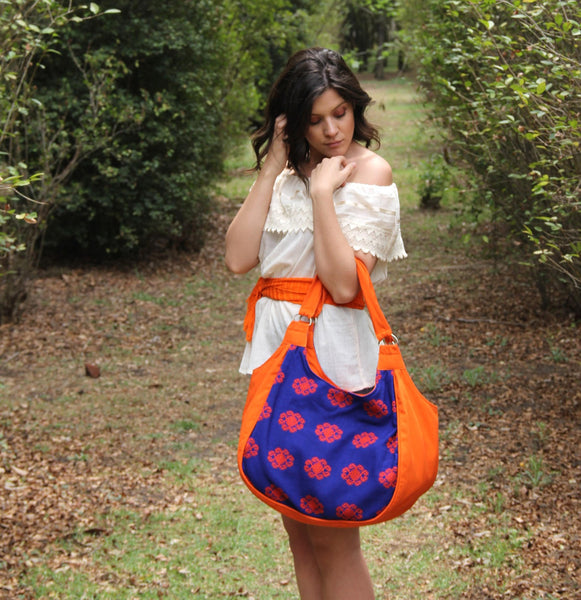 Electric  blue  and orange hand woven and hand embroidered Huipil tote  gorgeous hand embroidered  one of a kind  handbag