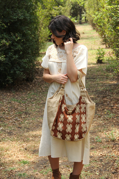 Beige and chocolate brown tote gorgeous hand embroidered  one of a kind jute handbag