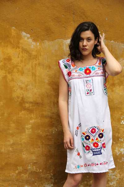 White with mulit colored embroidery Puebla Dress