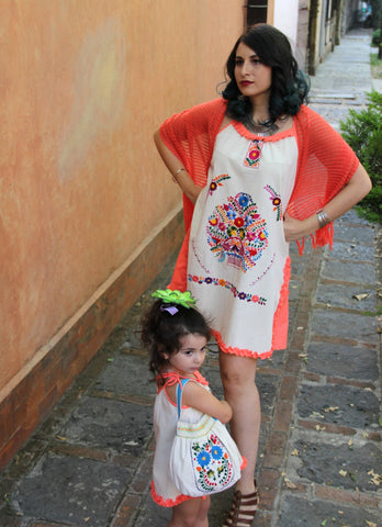Beige and coral  One of a kind Hand Embroidered Mexican Spaghetti strapped dress