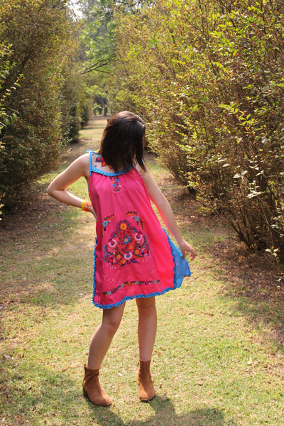 TINY TINY flaw Pink, Turquoise  and multi colored One of a kind Hand Embroidered Mexican Spaghetti strapped dress