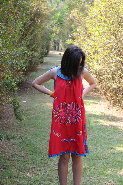 Red, blue, and multi colored One of a kind Hand Embroidered Mexican Spaghetti strapped dress