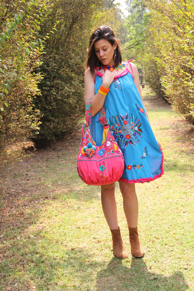 Pink and Multi colored  hand  Embroidered Huipil Boho Travel tote